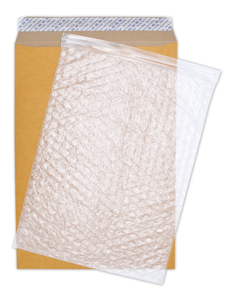 Zip Lock Bubblepak Open End No. 9 x 12 3/4 Peel & Seal